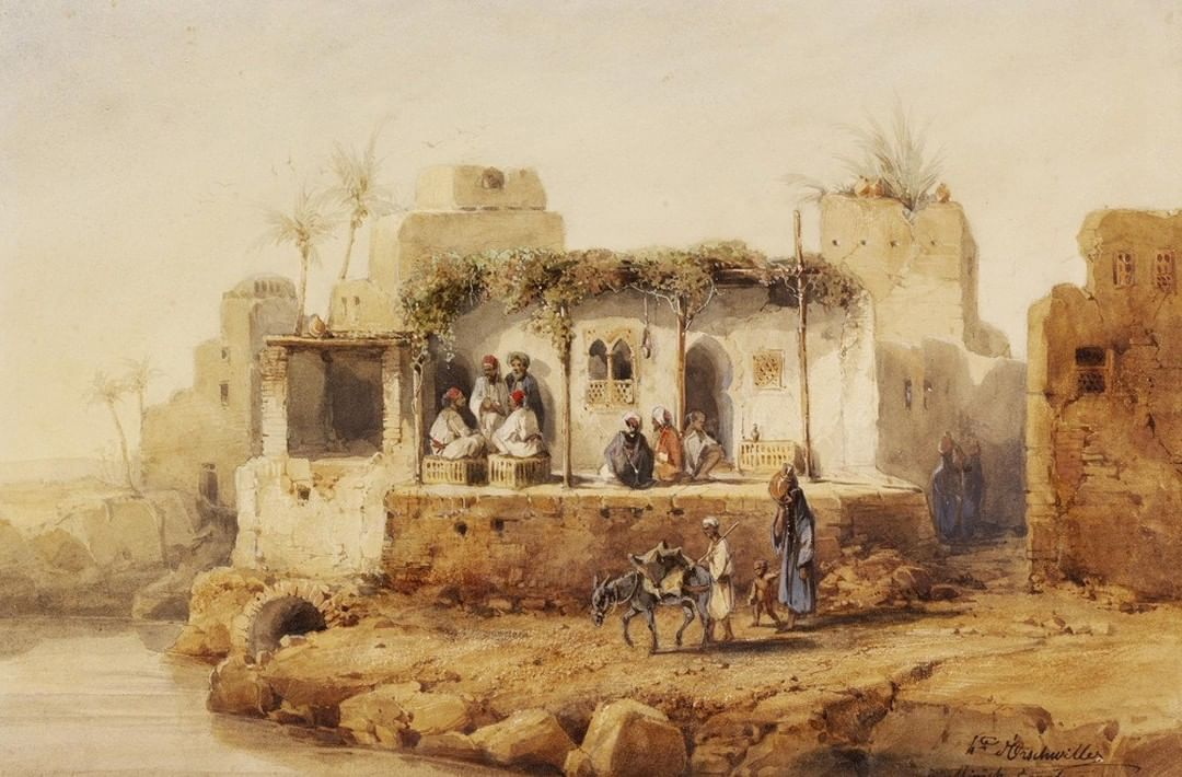 A Coffee House in Minya, Egypt, 1845 Minye'de Bir Kahve, Mısır, 1845            ...
