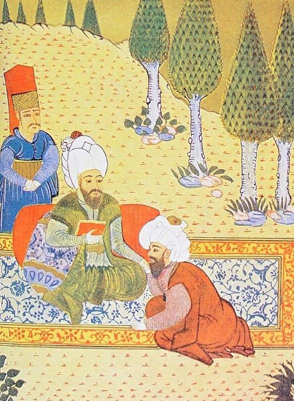 Ali Kuşçu Fatih Sultan Mehmed'e Kitabını Sunuyor