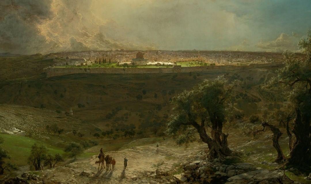 Jerusalem from the Mount of Olives, Palestine, 1870  Zeytin Dağı'ndan Kudüs, Fil...