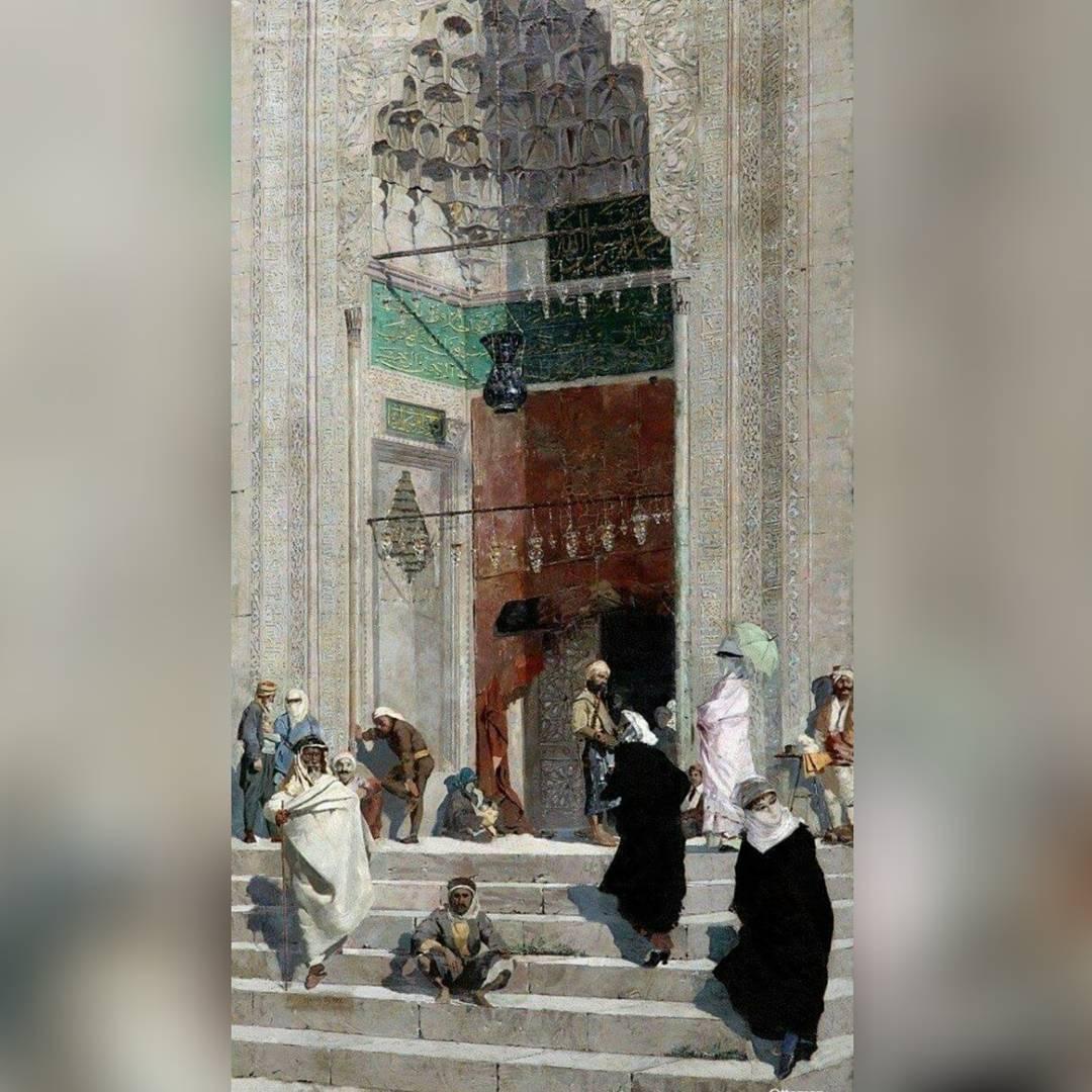 Osmanlı dönemi Yeşil Cami, Bursa, 1900'ler. Green mosque, Ottoman Bursa, early 1...